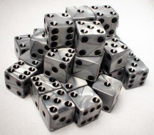 Koplow Silver Square Edged Dice