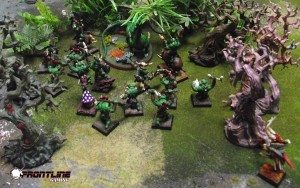 Frugeon sneaks up on the Orcs and the Forest Drake.