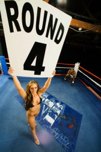 """Ring Girl"" Announcing Start of Round Four"