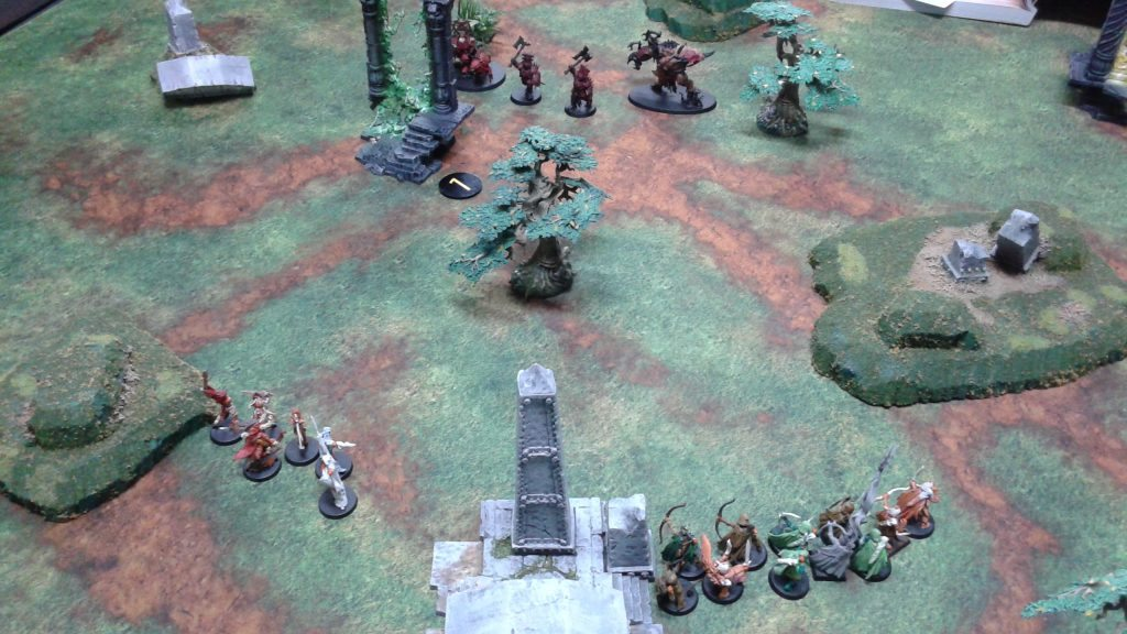 The Wood Elves loose a volley of arrows as they fall back!