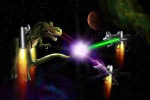 t_rex_fighting_wolves_in_jet_packs_in_space_by_zyari-d4zj3ox